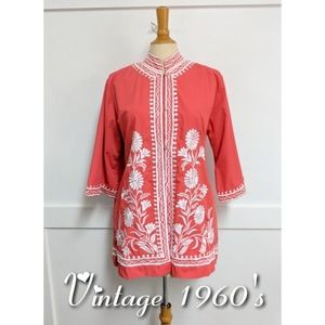Vintage Mandarin Collar Embroidered Tunic Large
